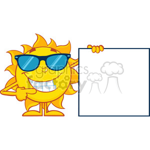 talking sun cartoon mascot character with sunglasses pointing to a blank sign vector illustration isolated on white background clipart. Royalty-free image # 400041