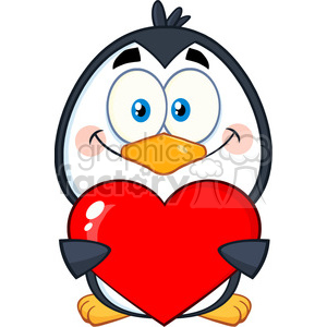 cute penguin cartoon character holding a valentine heart vector illustration isolated on white clipart. Royalty-free image # 400051