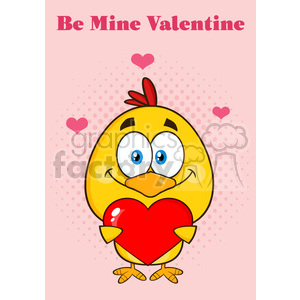 9171 cute yellow chick cartoon character holding a valentine love heart vector illustration isolated greeting card animation. Commercial use animation # 400061