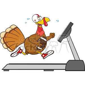 football turkey bird cartoon character running on a treadmill vector illustration isolated on white clipart. Commercial use image # 400071