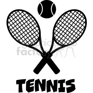 crossed racket and tennis ball black silhouette vector illustration isolated on white with text tennis clipart. Royalty-free image # 400081