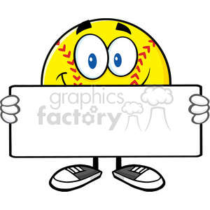 smiling softall cartoon mascot character holding a blank sign vector illustration isolated on white background clipart. Commercial use image # 400091