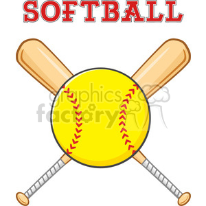 yellow softball over crossed bats logo design vector illustration with text isolated on white background clipart. Royalty-free image # 400101