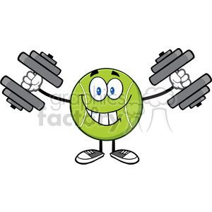 smiling tennis ball cartoon mascot character working out with dumbbells vector illustration isolated on white clipart. Royalty-free image # 400121