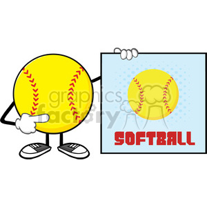 softball faceless cartoon mascot character pointing to a sign with text softball vector illustration isolated on white background clipart. Royalty-free image # 400131