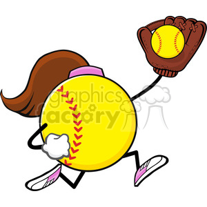 softball faceless girl player cartoon mascot character running with glove and ball vector illustration isolated on white background clipart. Royalty-free image # 400151