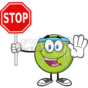 funny tennis ball cartoon mascot character gesturing and holding a stop sign vector illustration isolated on white clipart. Commercial use image # 400161