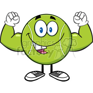 happy tennis ball cartoon mascot character flexing vector illustration isolated on white clipart. Royalty-free image # 400171