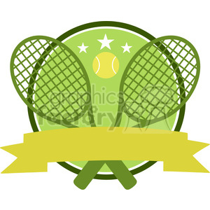 9541 crossed racket and tennis ball logo design green label vector illustration isolated on white clipart. Royalty-free image # 400181