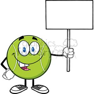 talking tennis ball cartoon mascot character holding a blank sign vector illustration isolated on white clipart. Royalty-free image # 400191