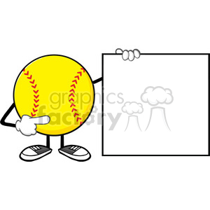 softball faceless cartoon mascot character pointing to a blank sign vector illustration isolated on white background clipart. Commercial use image # 400201