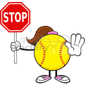 softball girl faceless cartoon mascot character gesturing and holding a stop sign vector illustration isolated on white background clipart. Royalty-free image # 400211