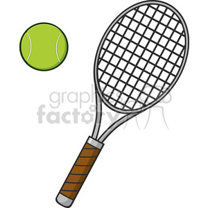 cartoon tennis ball and racket vector illustration isolated on white clipart. Commercial use image # 400221
