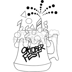 black and white oktoberfest cartoon beer mug clipart. Royalty-free image # 400306
