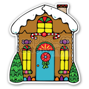 christmas gingerbread house sticker animation. Commercial use animation # 400384