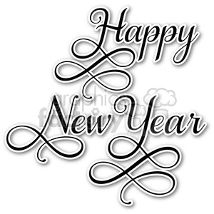 happy new year typography sticker clipart. Commercial use image # 400452