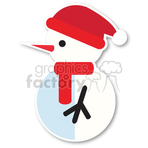 snowman profile with santa hat icon vector art clipart. Royalty-free image # 400498