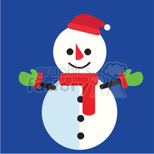 snowman with red scarf on blue square icon vector art clipart. Royalty-free image # 400508