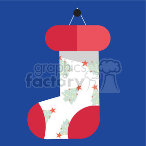 white cartoon christmas stocking on blue square with christmas trees vector flat design clipart. Commercial use image # 400518