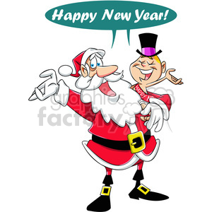 happy new year santa and baby new year vector cartoon art clipart. Commercial use image # 400558