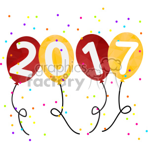 2017 new year party balloons vector art clipart. Royalty-free image # 400608