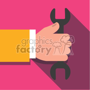 hand holding wrench tool flat design vector art clipart. Royalty-free image # 400638