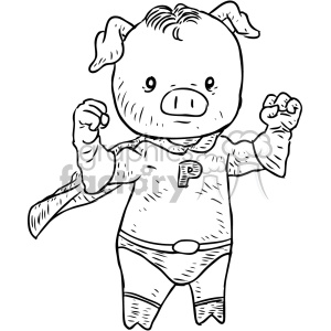 super pig character vector illustration clipart. Commercial use image # 400648