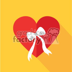 heart with a bow flat design vector icon art