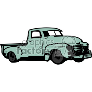 old 1954 vintage pickup truck right profile vector image clipart. Royalty-free image # 402337