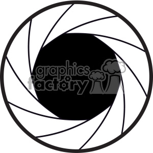 vector black and white camera shutter icon clipart. Commercial use image # 402365