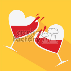 heart shaped glasses with wine cheers vector art flat design clipart. Royalty-free image # 402375