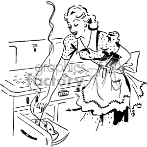 vintage women cooking vector vintage 1900 vector art GF clipart. Commercial use image # 402415