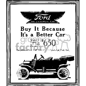 1900 ford vintage car ad vintage 1900 vector art GF clipart. Royalty-free image # 402445