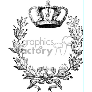 Vintage Crown And Wreath Vector Vintage 1900 Vector Art Gf