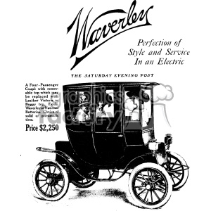 1900 vintage electric car ad vintage 1900 vector art GF clipart. Commercial use image # 402475