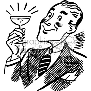vintage man drinking a glass of wine vector vintage 1900 vector art GF clipart. Royalty-free image # 402580