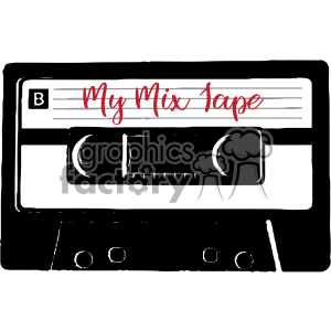 my mix tape cassette tape music vector clipart. Commercial use image # 402652