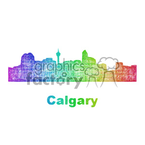 colorful city skyline vector clipart CAN Calgary clipart. Royalty-free image # 402665