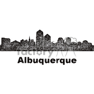 black and white city skyline vector clipart USA Albuquerque clipart. Commercial use image # 402675