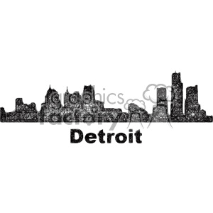 black and white city skyline vector clipart USA Detroit clipart. Commercial use image # 402685