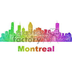 colorful city skyline vector clipart CAN Montreal