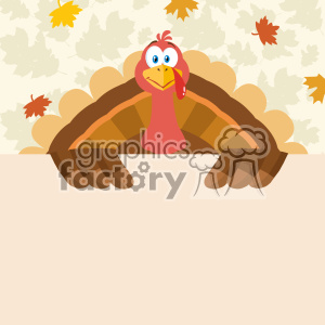 Happy Thanksgiving Turkey Bird Cartoon Mascot Character Holding A Blank Sign Vector Flat Design Over Background With Autumn Leaves clipart. Royalty-free image # 402743