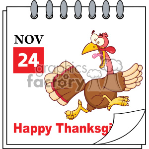 Cartoon Calendar Page With Cartoon Turkey Escape Vector clipart. Commercial use image # 402748