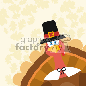 Pilgrim Turkey Bird Cartoon Mascot Character Peeking From A Corner Vector Flat Design Over Background With Autumn Leaves clipart. Royalty-free image # 402753