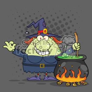 Ugly Halloween Witch Cartoon Mascot Character Preparing A Potion In A Cauldron Vector With Halftone Background