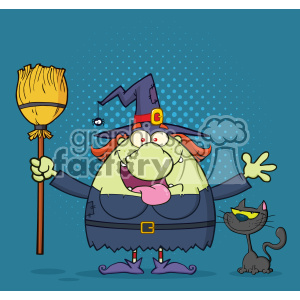 Happy Witch Cartoon Mascot Character Holding A Broom With Black Cat Vector With Halftone Background
