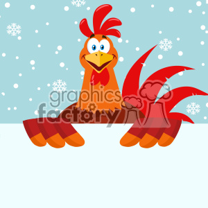Happy Red Rooster Bird Cartoon Holding A Blank Sign Vector Flat Design With Snow Background