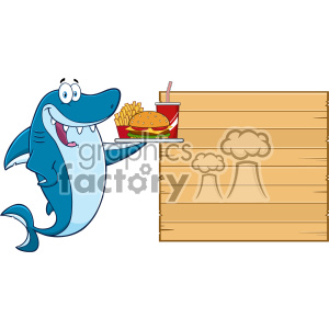 Cute Blue Shark Cartoon Holding A Platter With Burger French Fries And A Soda To Wooden Blank Board Vector