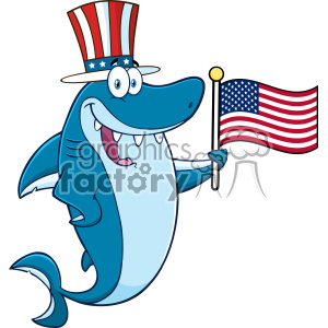 Royalty Free RF Clipart Happy Blue Shark Cartoon With Patriotic Hat Holding An American Flag Vector
