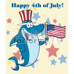 Happy Blue Shark Cartoon With Patriotic Hat Holding An American Flag Vector With Background Text Happy 4th July